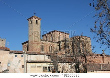 Famous cathedral of St Mary in the major square of Siguenza, Guadalajara, Spain