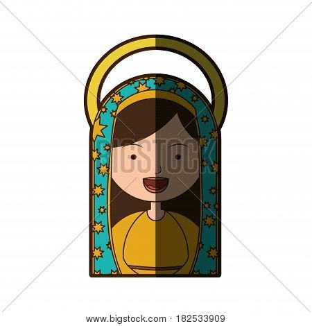 white background of half body virgin of guadalupe with aura with half body vector illustration