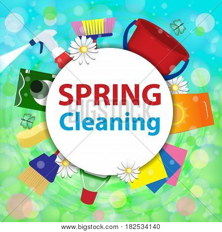 Blurred background with soap bubbles. Spring cleaning service concept. Tools for cleanliness and disinfection. Vector illustration.