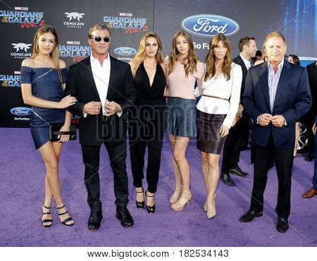 Sylvester Stallone, Scarlet, Sistine, Sophia, Jennifer Flavin and Frank Stallone at the LA premiere of 'Guardians Of The Galaxy Vol. 2' held at the Dolby Theatre in Hollywood, USA on April 19, 2017.