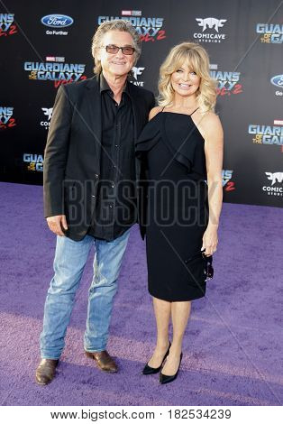 Goldie Hawn and Kurt Russell at the Los Angeles premiere of 'Guardians Of The Galaxy Vol. 2' held at the Dolby Theatre in Hollywood, USA on April 19, 2017.