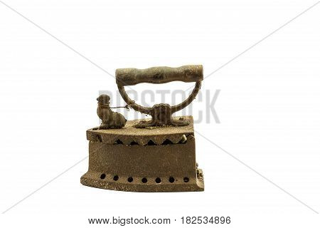Old iron charcoal isolated on white background