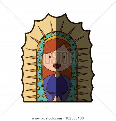 white background of half canvas of virgin of guadalupe with half shadow vector illustration