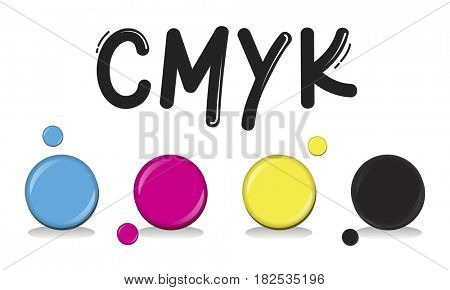 CMYK Creative Design Color Ink Mixture Printing Concept