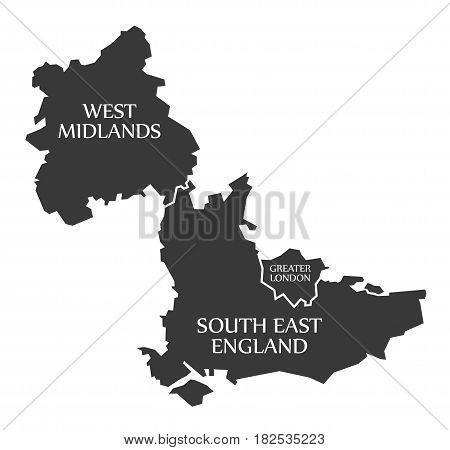 West Midlands - Greater London - South East England Map UK illustration poster