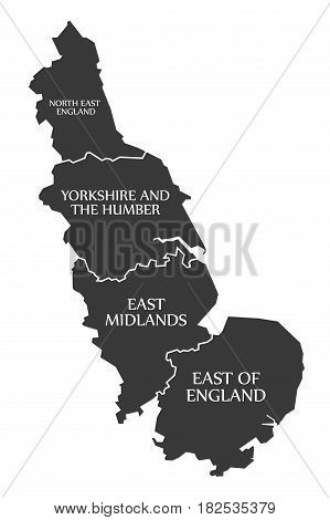 East Coast Of England With North East England - Yorkshire - East Midlands - East Of England Map Uk I