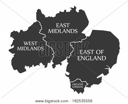 West Midlands - East Midlands - East Of England - Greater London Map Uk Illustration