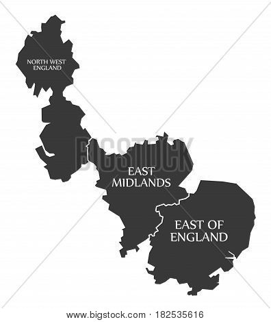 North West England - East Midlands - East of England Map UK illustration poster