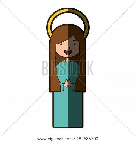 white background of beautiful virgin with long hair with aura and half shadow vector illustration