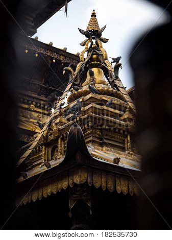 Detail of part of the golden temple's roof in Patan Nepal.
