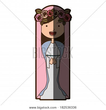 white background of beautiful virgin with crown of roses and half shadow vector illustration