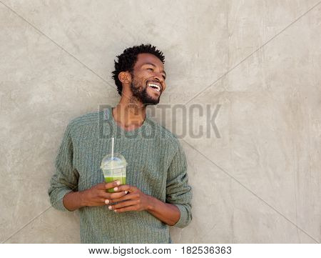 Handsome African American Man With Healthy Smoothie