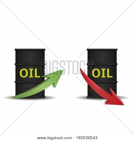 Oil barrels with green and red arrows. Growth and decline symbols