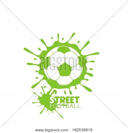 Football Soccer ball with green paint splashes. Street football poster