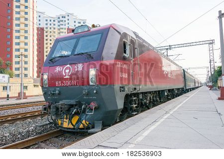 Hebei, China - Oct 13 2015: China Railways Hxd3D Electric Locomotive In Zhuozhou Railway Station, He