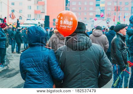 NORILSK, RUSSIA - MAY 9, 2016: People celebrate the day of victory