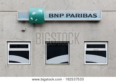 Vaux en Velin, France - February 26, 2016: BNP Paribas bank building. BNP Paribas is a French multinational bank and financial services company with global headquarters in Paris
