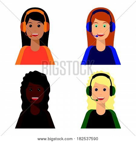 Call center agents flat avatars. Live chat operators girls smiling faces. Online customer support service assistants with headphones.