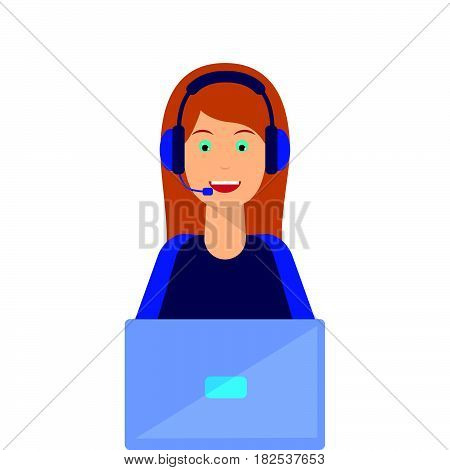 Call center agent flat avatar. Live chat operator girl smiling face. Online customer support service assistant with headphones laptop.