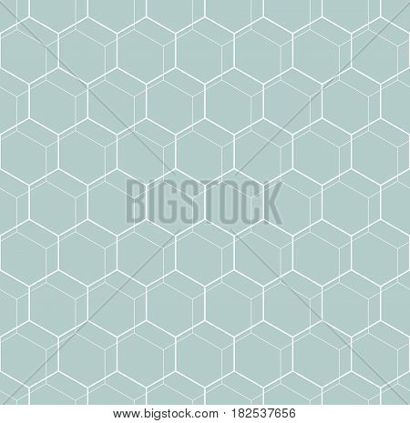 Geometric abstract vector hexagonal background. Geometric modern blue and white ornament. Seamless modern pattern