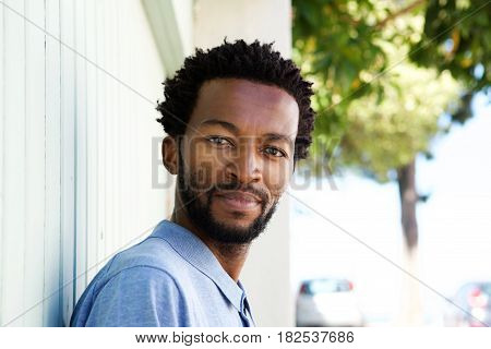 Close Up Serious African American Man Staring