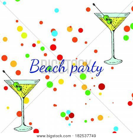 Summer beach party banner with martini cocktail. Cocktails menu card design template. Menu blank with space for text for restaurant cafe and bar vector design.