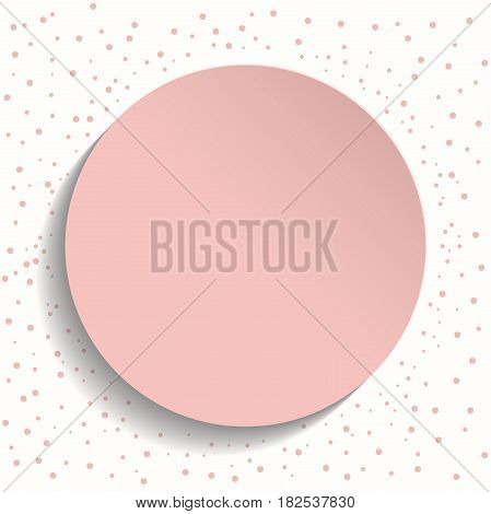 Pink vector frame with dots and volume circle. Fine greeting card. Pattern with dots