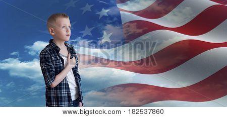 Proud Patriotic Kid Looks At American Flag