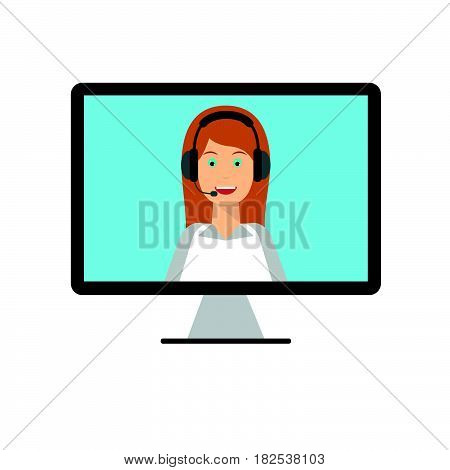 Woman with headphones on computer monitor screen. Technical support call center online customer live support webinar conference training and education concept. Flat design graphic elements.