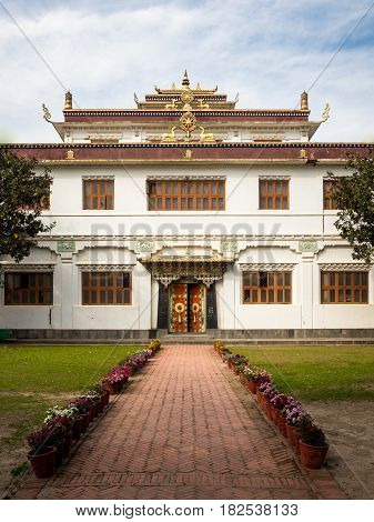 The main temple at Ka-Nying Shedrub Ling Monastery Boudhanath district. Kathmandu Nepal.