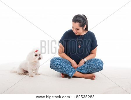 Cute Little Bichon And Her Owner