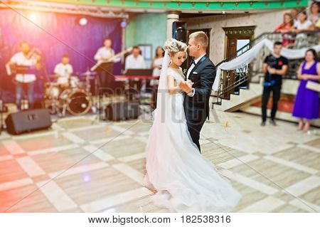 First Wedding Dance Of Gorgeous Wedding Couple.
