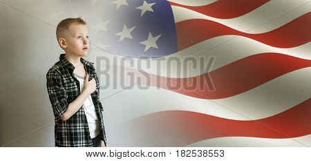 Little Boy And American Flag