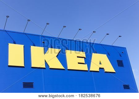 Odense, Denmark - April 2, 2017:  IKEA store. IKEA is a multinational group of companies that designs, sells ready-to-assemble furniture. IKEA owns and operates 353 stores in 46 countries