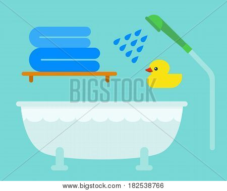 Bath equipment icons shower flat style colorful clip art illustration for bathroom hygiene vector design. Textile hygiene soft clean sign and domestic household modern porcelain sign.