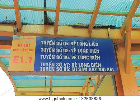 HANOI VIETNAM - NOVEMBER 23, 2016: Bus stop displays destinations at Long Bien bus terminal.