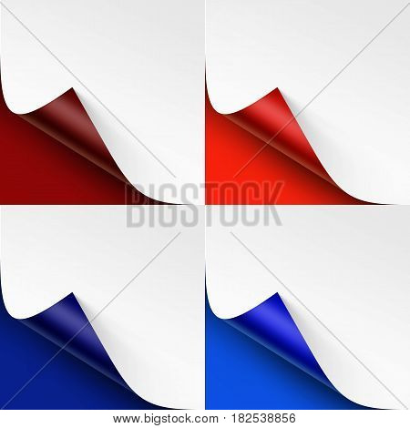 Vector Set of Curled Colored Corners of White Paper with Shadow Mock up Close up Isolated on Bright Red Scarlet Vinous Ultramarine Blue Background