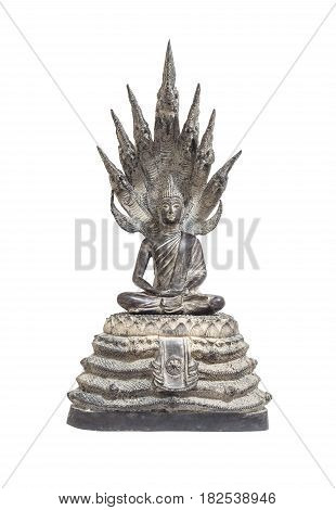 Closeup old silver buddha statue with a naga over his head isolated on white background with clipping path