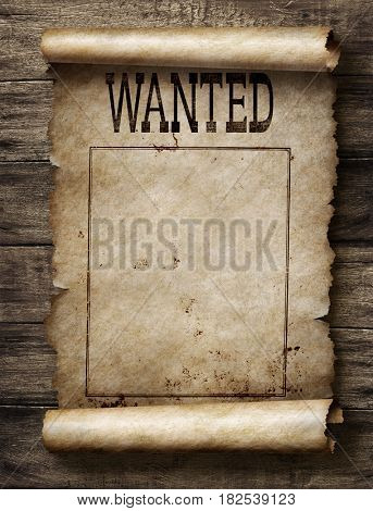 Wanted for reward poster