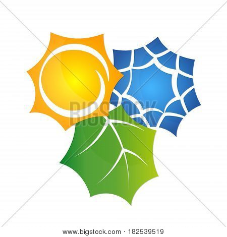 The air conditioner symbol is eco-friendly. Sun and snowflake abstract.