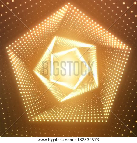 Vector infinite pentagonal twisted tunnel of shining flares on orange background. Glowing points form tunnel sectors. Abstract cyber colorful background for your designs. Geometric wallpaper.