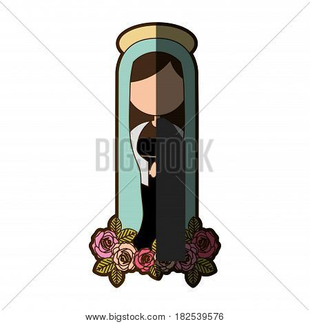 white background of faceless christian virgin and ornament of roses with half shadow vector illustration