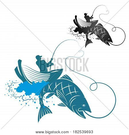 Fisherman catches fish silhouettes for vector illustration