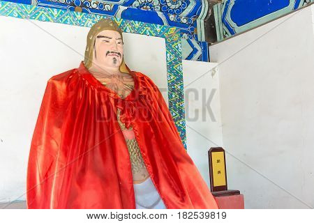 Hebei, China - Oct 13 2015: Guan Xing Statue At Sanyi Temple. A Famous Historic Site In Zhuozhou, He