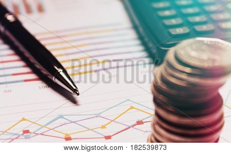 Finance Savings Concept, Business Equipment On Paperwork.