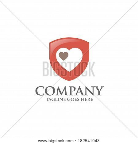 Shield logo with love heart abstract logo, created shield with hearth line elements. shield abstract geometric style