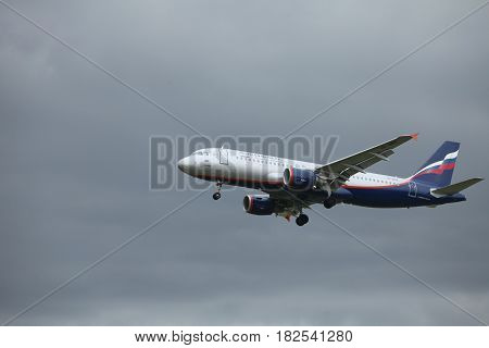 St. Petersburg Russia 19 August 2012 Passenger airplane Airbus A320 Serov of Aeroflot Airlines in flight