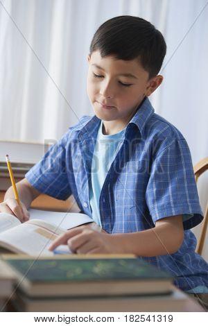 Mixed race boy doing homework