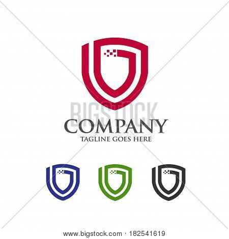 Shield logo abstract tech style logo, created shield with line elements. shield abstract geometric style