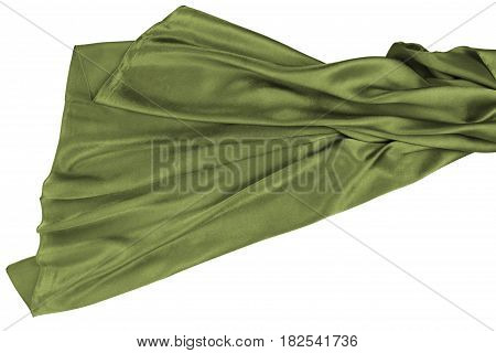 Green rippling silk fabric on white background